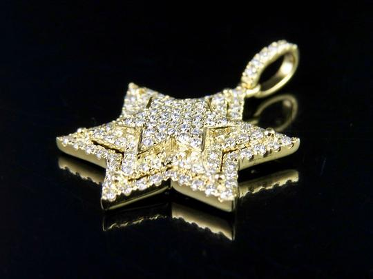 Jewelry Unlimited 10K Yellow Gold Stacked Iced Out Star Of David Diamond Pendant 3/4 ct Image 5
