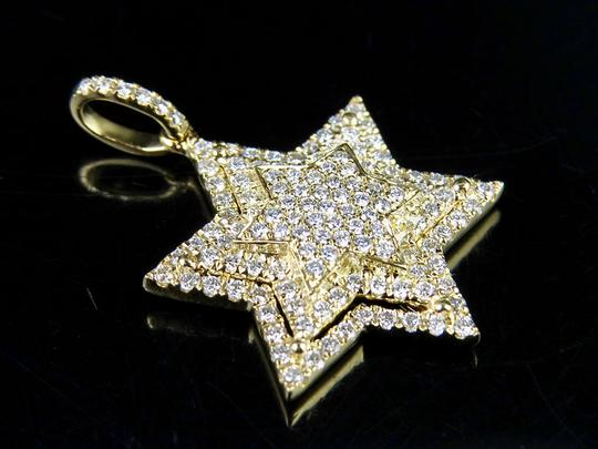 Jewelry Unlimited 10K Yellow Gold Stacked Iced Out Star Of David Diamond Pendant 3/4 ct Image 6