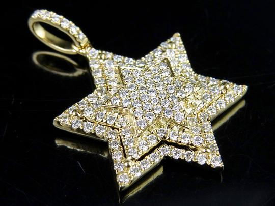 Jewelry Unlimited 10K Yellow Gold Stacked Iced Out Star Of David Diamond Pendant 3/4 ct Image 7