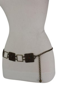 Alwaystyle4you Women Belt Hip Waist Vintage Antique Gold Metal Charm Brown Beads