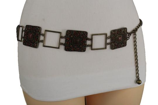 Alwaystyle4you Women Belt Hip Waist Vintage Antique Gold Metal Charm Brown Beads Image 1