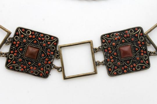 Alwaystyle4you Women Belt Hip Waist Vintage Antique Gold Metal Charm Brown Beads Image 2