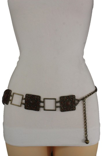Alwaystyle4you Women Belt Hip Waist Vintage Antique Gold Metal Charm Brown Beads Image 3