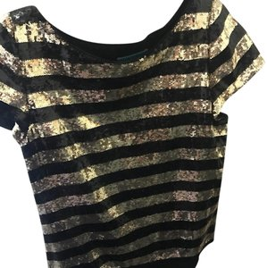Alice + Olivia Top black and gold