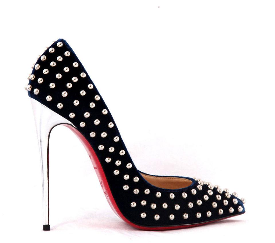 06f724689964 Christian Louboutin Black Navy Silver Stud New 39.5it Billy Velvet Pigalle  High Heel Lady Fashion Toe Red Sole Pumps