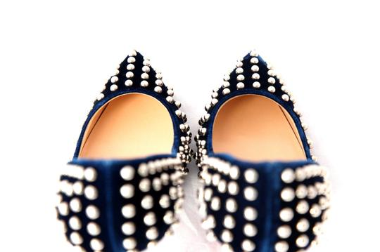 Christian Louboutin High Heels Spikes Ankle Boots Black Navy Silver Stud Pumps Image 10