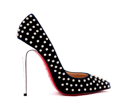 Christian Louboutin High Heels Spikes Ankle Boots Black Navy Silver Stud Pumps Image 3