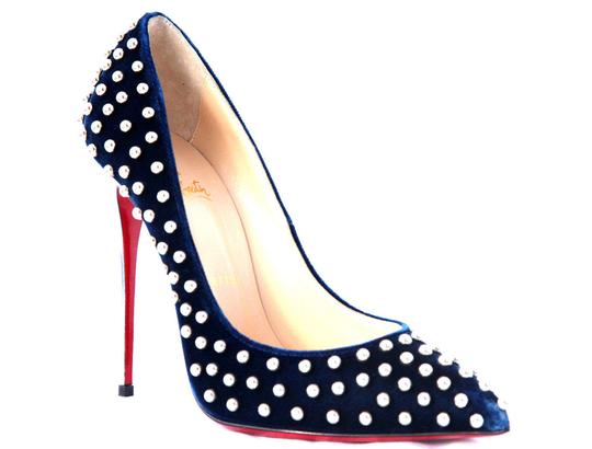 Christian Louboutin High Heels Spikes Ankle Boots Black Navy Silver Stud Pumps Image 5