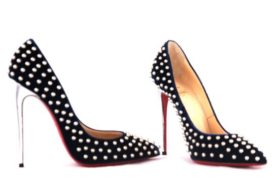Christian Louboutin High Heels Spikes Ankle Boots Black Navy Silver Stud Pumps Image 6