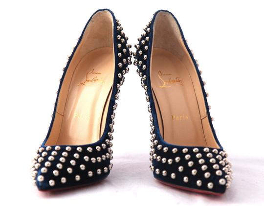 Christian Louboutin High Heels Spikes Ankle Boots Black Navy Silver Stud Pumps Image 7