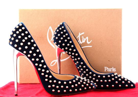 Christian Louboutin High Heels Spikes Ankle Boots Black Navy Silver Stud Pumps Image 9