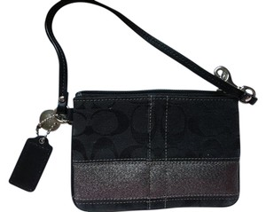 Coach Wristlet in Black/Silver