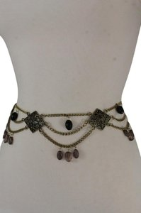 Alwaystyle4you Women Belt Hip Waist Antique Gold Metal Chains Gray Black Flowers