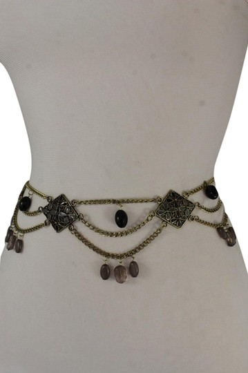 Preload https://img-static.tradesy.com/item/21345404/silver-women-hip-waist-antique-gold-metal-chains-gray-black-flowers-belt-0-1-540-540.jpg