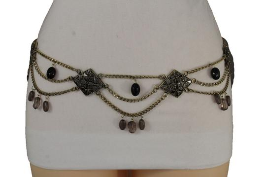 Alwaystyle4you Women Belt Hip Waist Antique Gold Metal Chains Gray Black Flowers Image 1