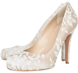 Alexander McQueen Ivory Satin with lace Pumps