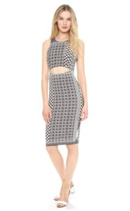Charles Henry Cutout Gray Dress