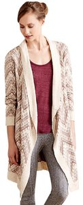 Anthropologie Tunic Ivory Zig Zag Cardigan