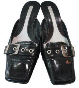 Via Spiga Patent Leather Silver Hardware Black Mules