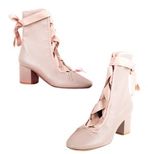 Valentino Ballet Lace Up Nude Boots