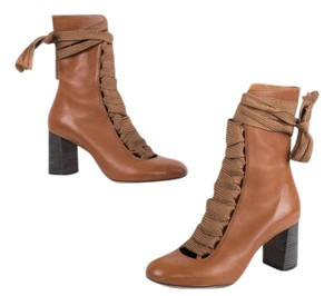 Chloé Chloe Brown Lace Up Heel Leather Caramel Boots