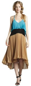 Black, Blue, Tan Maxi Dress by Tracy Reese Tea Length Maxi Color-blocking Pleated Halter