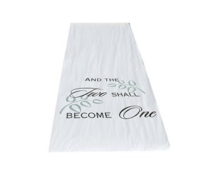 White Two Shall Become One Fabric 100 Feet Long Romantic Aisle Runner