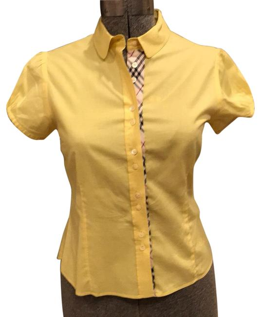 Item - Yellow and Plaid Cotton Shirt Button-down Top Size 8 (M)