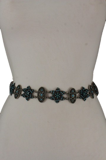 Other Women Belt Hip Waist Antique Silver Metal Chains Turquoise Flowers