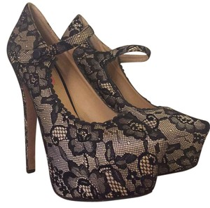 Betsey Johnson Chic Black and Nude Lace Platforms