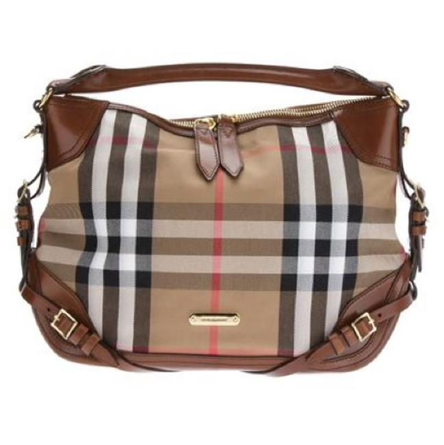 Item - Make Me An Offer Bridle House Check Ledbury Tote Brown Tan Black Red and White Leather Canvas Hobo Bag