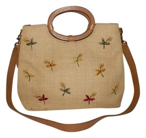 Fossil Straw Hollywood Floral Detachable Strap Satchel in Tan and Brown