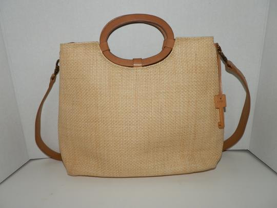 Fossil Straw Hollywood Floral Detachable Strap Satchel in Tan and Brown Image 1