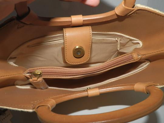 Fossil Straw Hollywood Floral Detachable Strap Satchel in Tan and Brown Image 4