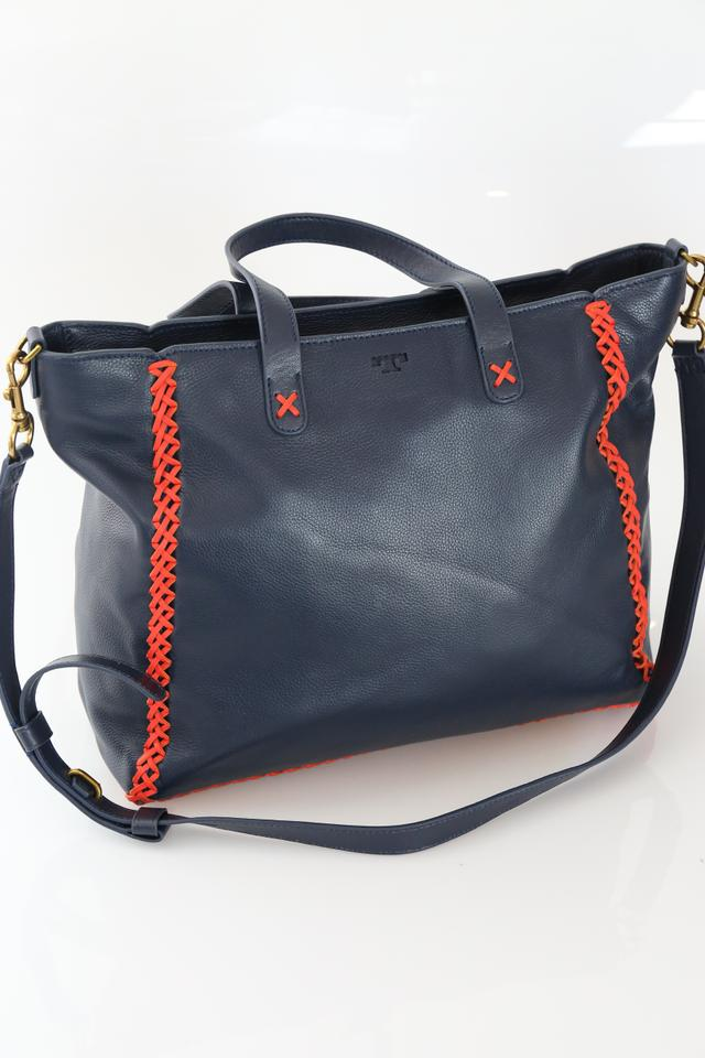 1e06987edfd Tory Burch Whipstitch Blue Tote in Tory Navy Image 11. 123456789101112