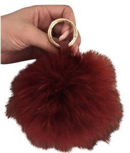 Other Fur bag charm poof key chain in oxblood red
