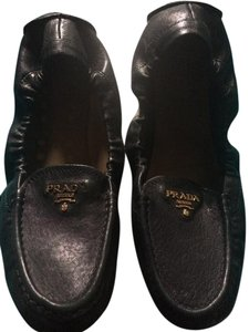 Prada Scrunch Driving Loafer Black Flats