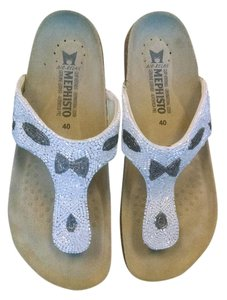 Mephisto White and Silver Sandals