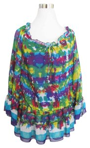 ECI New York Tie Dye Ruffle Blue Top Multi-Color