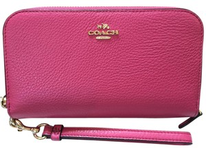 Coach DOUBLE ACCORDION ZIP WALLET IN PEBBLE LEATHER (COACH F53891)