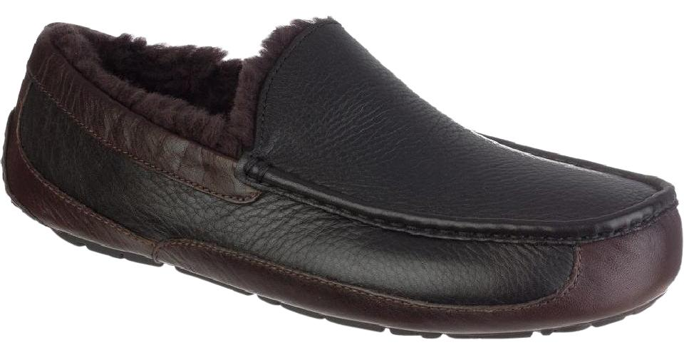 5dd7b457088 UGG Australia Black/Brown Ascot Mens Slipper Flats Size US 8 Regular (M, B)