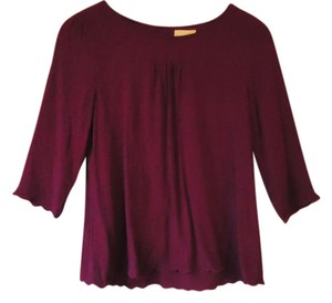 Anthropologie Swiss Dot Red Scalloped Maeve Top