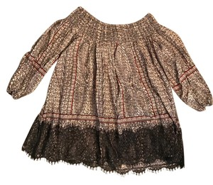 Anthropologie Lace Pattern Off The Top Multi Black