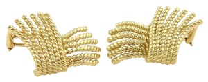 Tiffany & Co. Schlumberger Fringed Wire Ribbon Style 18k Yellow Gold Earrings