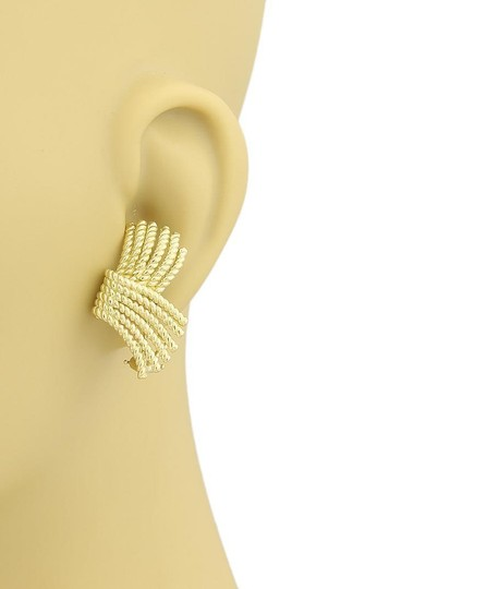 Tiffany & Co. Schlumberger Fringed Wire Ribbon Style 18k Yellow Gold Earrings Image 2