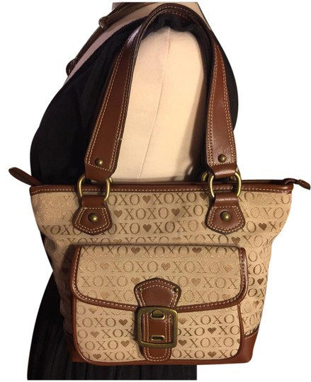 Preload https://img-static.tradesy.com/item/21346690/xoxo-fabric-logobrown-tanbrown-cottonpolyesterleather-satchel-0-1-540-540.jpg