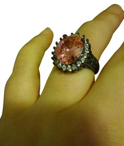 Zales Spectacular Large 14k Black Gold Over Silver Pink & White Topaz Ring