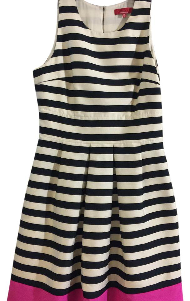 Saks Fifth Avenue Navy Blue White and Pink Striped Mid-length ...