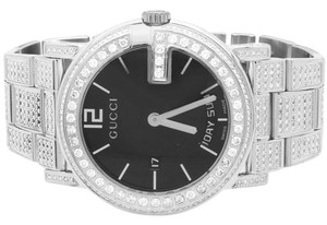 Gucci Gucci Diamond Watch YA101305 Stainless G 101M 40mm Fully Iced Band 7Ct