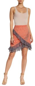 Free People Carolina K For Fp Around The Mulberry Chambray Flare Mini Denim Blue Classic Swingy Fit N Flare Mini Skirt RED